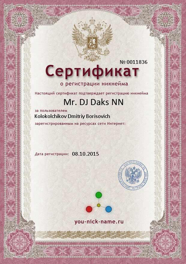The certificate for nickname Mr. DJ Daks NN